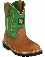 John Deere Boys' Johnny Popper Green Western Boot Round Toe - JD3186