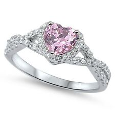 Sterling Silver 925 HEART LOVE KNOT PINK CLEAR CZ PROMISE RING 8MM SIZE 4-12