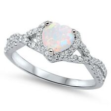 Sterling Silver 925 HEART LOVE KNOT WHITE LAB OPAL & CZ PROMISE RING SIZES 4-12