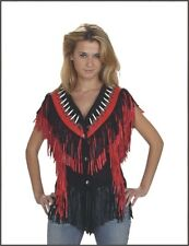 Women's Genuine Leather Vest with Black & Red Fringes Great Deal