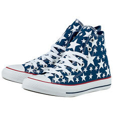 Converse Chuck Taylor All Star Hi Blue Shoes White Stars Sneakers Unisex 147118