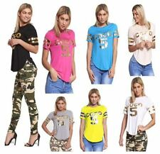 WOMENS LADIES CASUAL SHORT SLEEVE T SHIRT COCO 5 GOLD FOIL PRINT CURVED HEM TOP