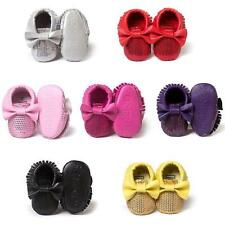 Newborn PU Leather Bling Sequin+Tassel Baby Shoes Soft Sole Crib Bowknots 0-18M
