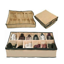 1/2/4 pcs of 12 Pairs Shoe Organiser Holder Under Bed Wardrobe Storage Bag Box