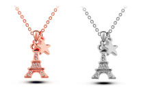 """Sparkling """"The Eiffel Tower"""" Silver/Rose Gold GP Cubic Zirconia Pendant Necklace"""