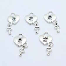 4/20/150pcs Tibetan Silver Heart Key Lock Charms Pendants14x26mm fit Bracelet