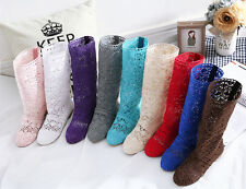 Vogue Summer Lady's Knitted hollow mid calf Shoes High Casual Sandals Boots