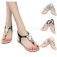 New Womens Summer Bohemia Slippers Flip Flops Flat Sandals Thong Shoes T-Strap