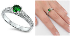 Sterling Silver 925 ROUND EMERALD CZ STONE DESIGN ENGAGEMENT RING SIZES 5-10