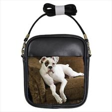 American Bulldog Leather Sling Crossbody Shoulder Bag