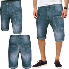 MENS DENIM CARGO COMBAT SHORTS KNEE LENGTH 3/4 JEANS BONDS FADED DESIGNER SUMMER