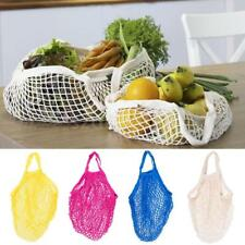 4 Color Organic Cotton Net Tote Reusable String Eco Shopping Bag Fruit Storage