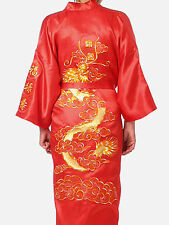 Chinese Kimono Japanese Gown Bath Robe Dragon Bathrobe Robe Sleepwear Red Size