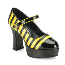 Funtasma BUZZ-66 Women's Shoes Black-Yellow Patent Mary Jane Block High Heels