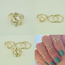 4PCS Midi RingsSet Rings Urban Gold Plated Crystal Plain Above Knuckle Ring Band