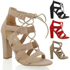 NEW WOMENS CAGED ANKLE HIGH HEEL LADIES LACE UP WOVEN STRAPPY SANDALS SHOES