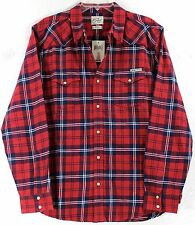 NWT Lucky Brand Red Plaid Pearl Snap Long Sleeve Western Shirt Choose Sze