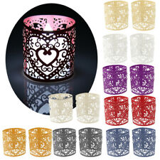 6pcs Paper Heart Wedding Home Decoration LED Tealight Tea Light Candle Holder