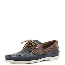 Mens Timberland EK 2 Eye Dark Brown Navy Blue Leather Boat Shoes Shu Size