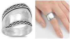 Sterling Silver 925 LADIES MENS HANDMADE BALI RING DESIGN SILVER 19MM SIZES 5-12