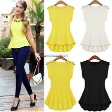 Fashion Womens Chiffon Sleeveless Pleated Peplum Blouse Casual Tank Tops Shirt