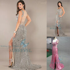 Brilliant Sequins Party Evening Dress Cocktail Prom Wedding Dress Ball Gown 6-16