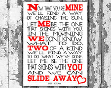 Oasis Slide Away Music Lyrics Canvas Song Lyric Art Prints Typography Wall Art