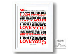 The Cure Love Song Wall Art Song Lyric Poster Print Typography Lyrics Designs