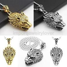 Hot Men Punk Stainless Steel Cool Wolf's Head Pendant Necklace Jewelry
