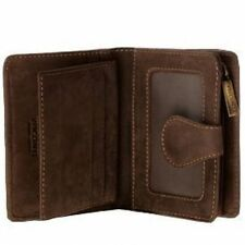 Visconti 715 Mens Oil Leather Bi-fold ID Wallet with Zippered Coin Purse Gift Bx