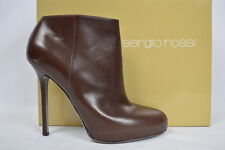SERGIO ROSSI SHOES boots heels Brown leather platform  39.5 38.5