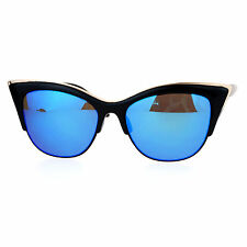 Cateye Butterfly Sunglasses Designer Fashion Womens Shades Metal Top