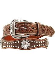 Ariat Men's Floral Embossed Scalloped Concho Studded Leather Belt