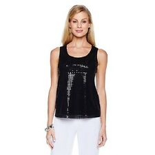 NWOT SLINKY BRAND SEQUIN FRONT SEQUINED TANK TOP BLOUSE SIZE LARGE BLACK CRUISE