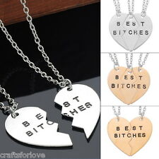 CL  1Set BEST BITCHES Best Friends Forever BFF Valentine Heart Pendant Necklaces