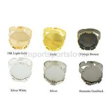 10pcs Rings Adjustable Ring Bases Ring Blanks with 15mm Flat Pad Cabochon