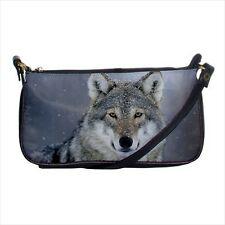 Beautiful Gray Wolf Mini Coin Purse & Shoulder Clutch Handbag