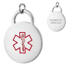 DIABETIC INSULIN Stainless Steel Medical Round Pendant / Charm, Bead Ball Chain