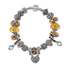 Bracelet European Style Yellow Crystal Rhinestone Bracelet With Heart Charms