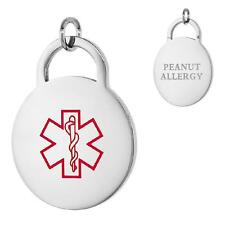 PEANUT ALLERGY Stainless Steel Medical Round Pendant/Charm, Free Bead Ball Chain