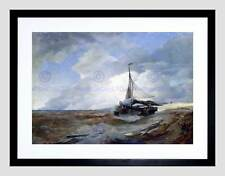 PAINTING SEASCAPE MARITIME ACHENBACH FISHING BOAT DISTRESS FRAMED PRINT B12X3690