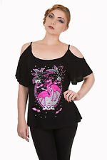 Banned Apparel Flamingo 50s Rockabilly Skull Open Shoulder Pink Bats Gothic Top