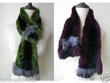 LW01# The Latest fashion/Real rex rabbit fur with silver fox knitted soft scarf/