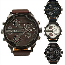 New Luxury Men's Stainless Steel Army Dual Time Quartz Leather Sport Wrist Watch