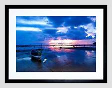 PHOTO SEASCAPE SUNSET BEACH BOAT CLOUDS REFLECTION DUSK COOL ART PRINT B12X8240