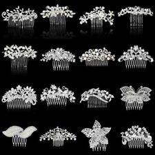 Bridal Wedding Party Flower Leaf Crystal Rhinestone Pearl Hair Comb Slide Decor