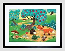PAINTING ILLUSTRATION CARTOON WOODLAND CREATURE FRAMED ART PRINT MOUNT B12X13504