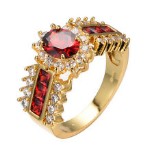 Size 5-12 Red Ruby Ring White CZ 10KT Yellow Gold Wedding Engagement Party Band