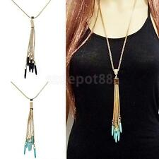 Vintage Gold Plated Alloy Tassel Pendant Turquoise Long Chain Sweater Necklace