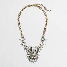 J.Crew Dangling Stone Brooch White Crystal Gold Tone Statement Necklace NWT
